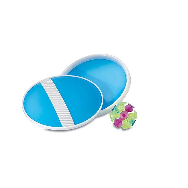 Užijte si zábavu při této hře! Sada obsahuje míček a 2 lapače míčku. - modrá - foto