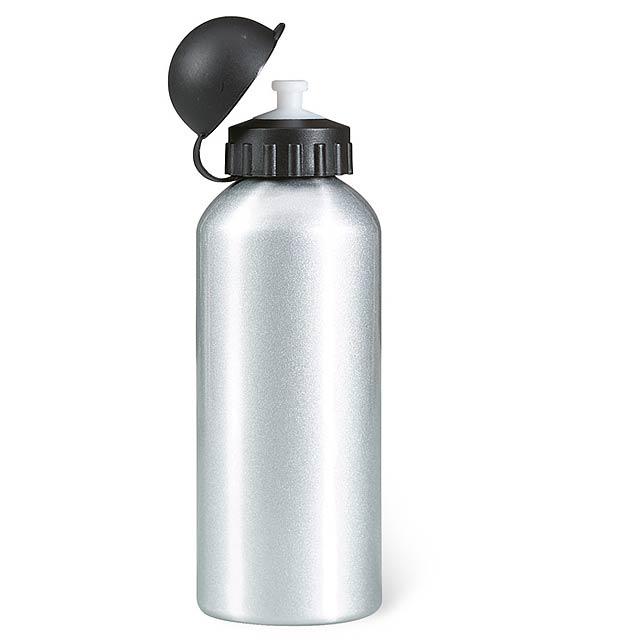 Hliníková láhev na pití. 1 plášťová. Objem 600 ml. - stříbrná mat - foto