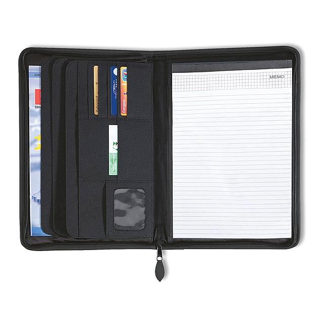 A4 desky s 20-ti stránkovým poznámkovým blokem. 600D PE a 210T podšívka. - černá - foto