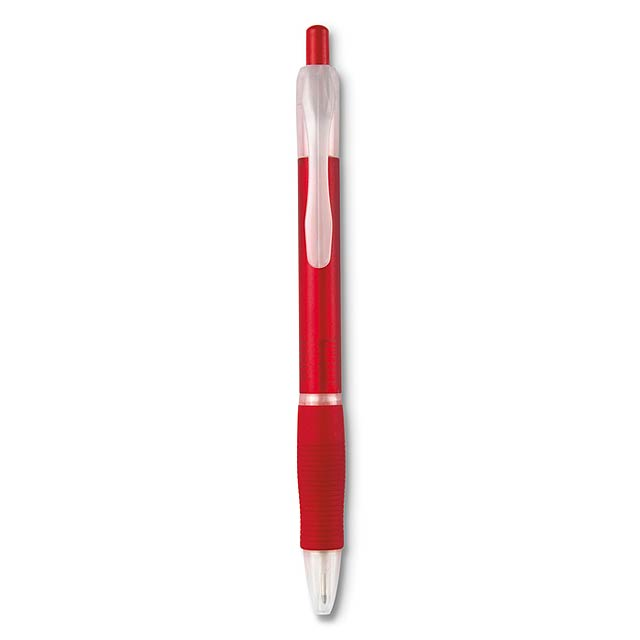 Ball pen with rubber grip  - transparent red