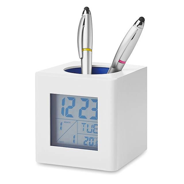 Weather station pen holder  - white/blue