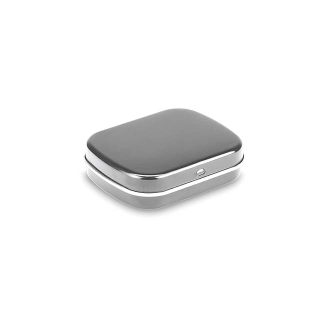 Silver tin with mints  - matt silver