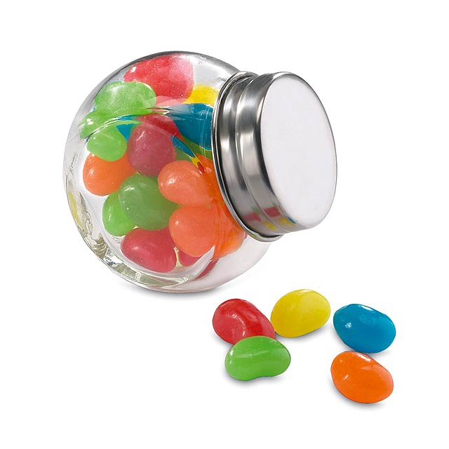 Glass jar with jelly beans  - multicolor