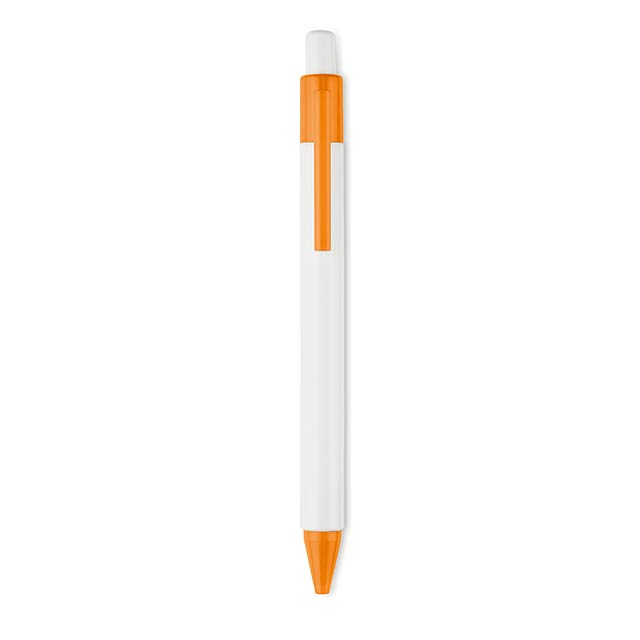 CHUPI WHITE - Plastová propiska, modrá náplň - oranžová