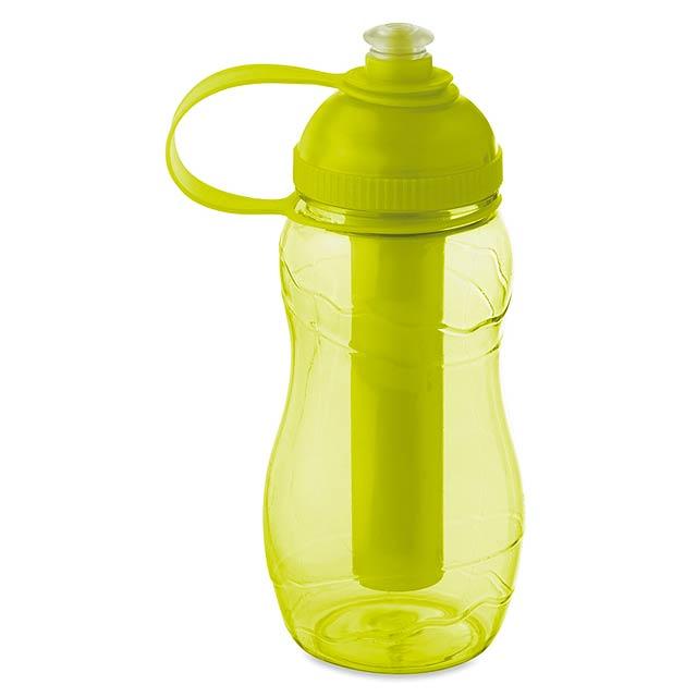 Láhev s chladící tubou - GOO - transparentní citrónová