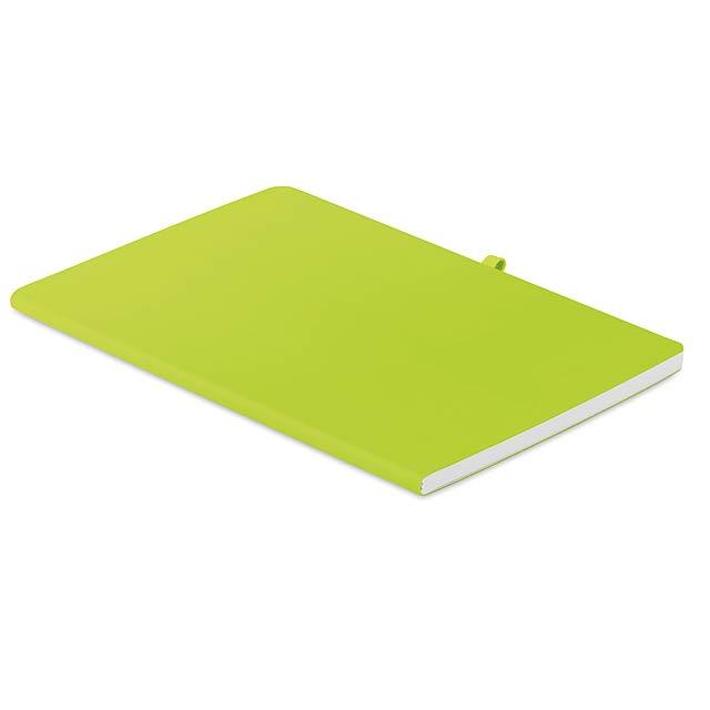 RAINBOW - A5 zápisník s měkkými deskami  - citrónová - limetková