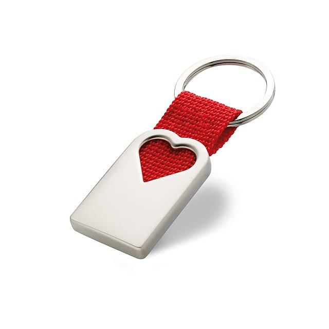 Matná kovová klíčenka ve tvaru srdce - červená