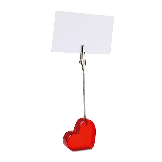 Klip ve tvaru srdce z transparentního plastu s kovovou svorkou. - červená - foto