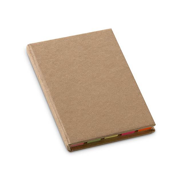 Sada lepících bločků v recyklovaném kartonovém obalu. Obsahuje 5 různobarevných lepících bločků po 25 listech, jeden 25-ti stránkový a jeden 50-ti stránkový blok. - béžová - foto