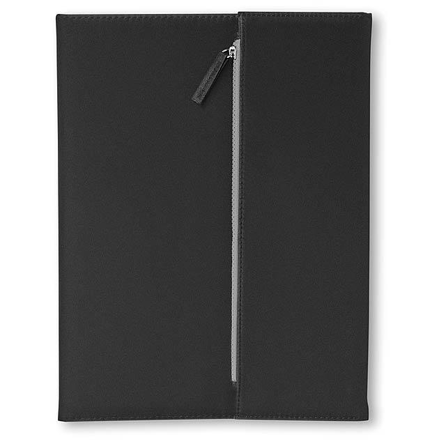 Konferenční desky A4 z mikrovlákna s 50-ti stránkovým blokem. Včetně kapsičky na zip, do které můžete uložit kuličkové pero nebo tužku. Individuální dárkové balení. - černá - foto