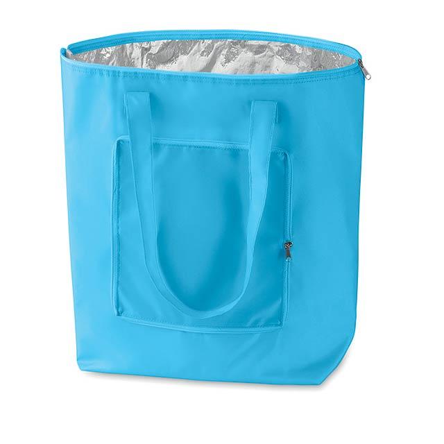 Praktická skládací chladící taška. Ideální pro mléčné výrobky. Materiál polyester 210T na vnější a hliníková fólie na vnitřní straně. - nebesky modrá - foto