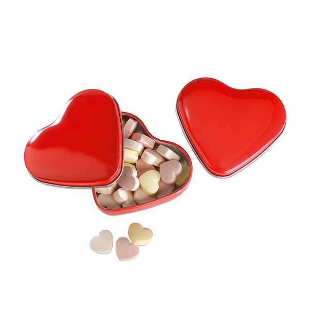 Heart tin box with candies - red