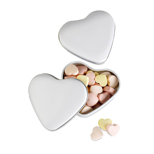 Heart tin box with candies - white