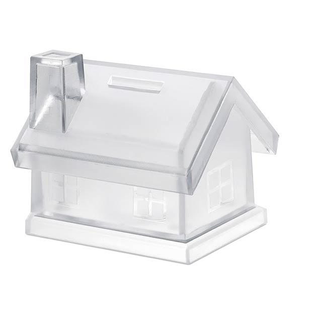 Plastová pokladnička ve tvaru domečku. - transparentní