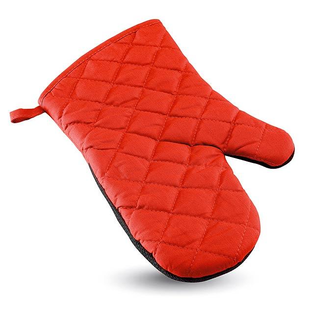 Pogumovaná kuchyňská rukavice - červená
