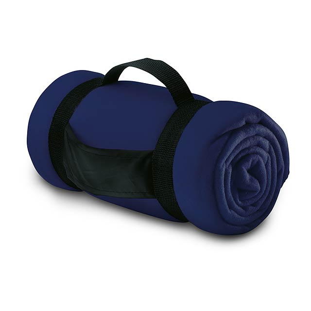 Fleecová deka s popruhy - modrá