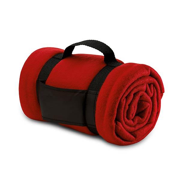 Fleecová deka  - červená