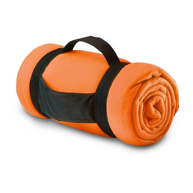 Fleecová deka s popruhy - oranžová