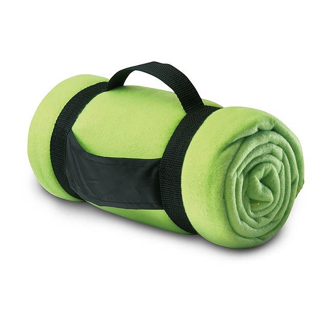 Fleecová deka s popruhy - citrónová - limetková