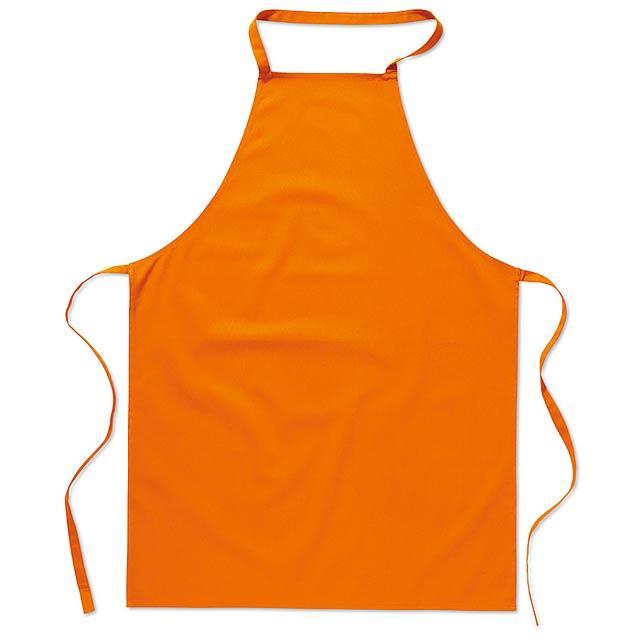 Kuchyňská bavlněná zástěra  - oranžová