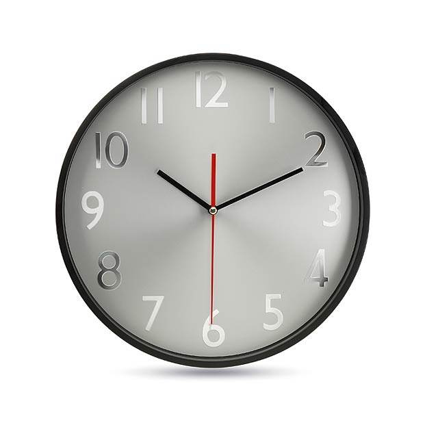 Wall clock w silver background - black