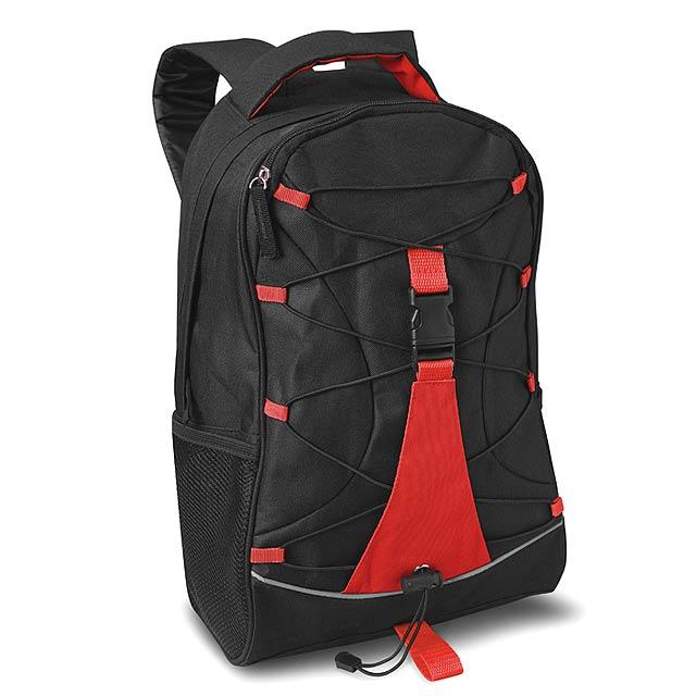Černý ruksak s barevnými kombinacemi. Síťové kapsy po boku. 600D polyester. - červená - foto