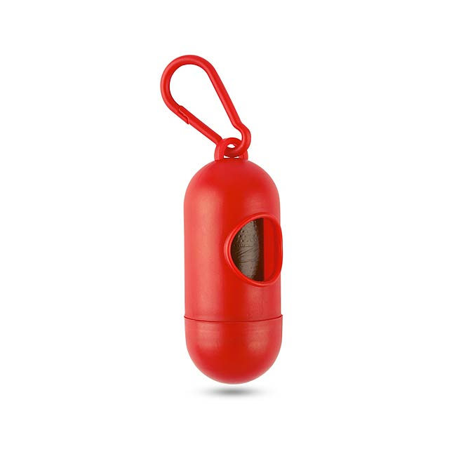 Container for pet bag w hook - red