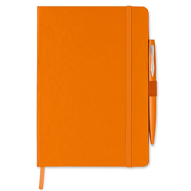 A5 blok se záklopem. 72 stran, linkovaný papír, gumička a držák se stuhou. Obsahuje kovové kuličkové pero s modrým inkoustem. - oranžová - foto