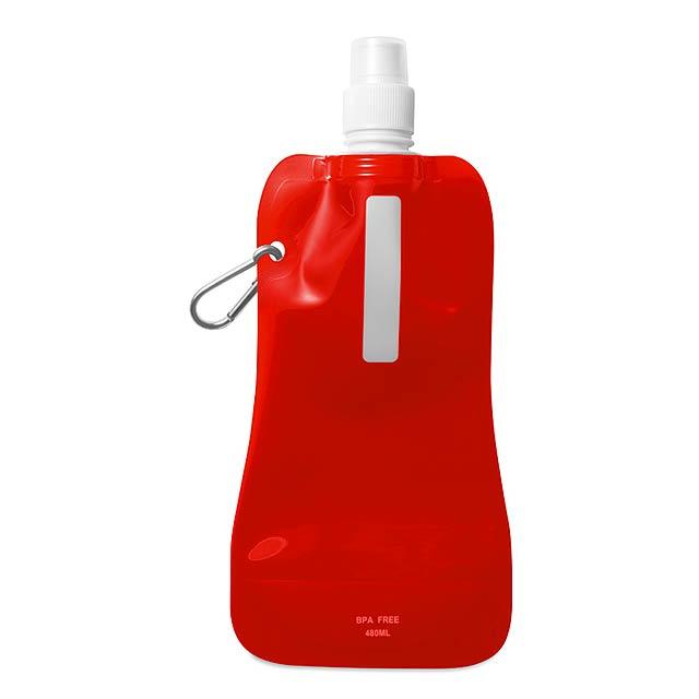 Skládací láhev na vodu  - transparentní červená