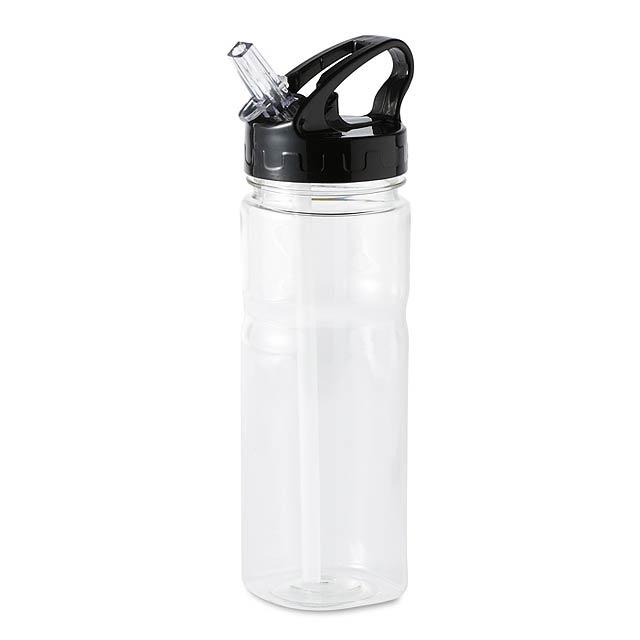 Láhev s brčkem  - transparentní