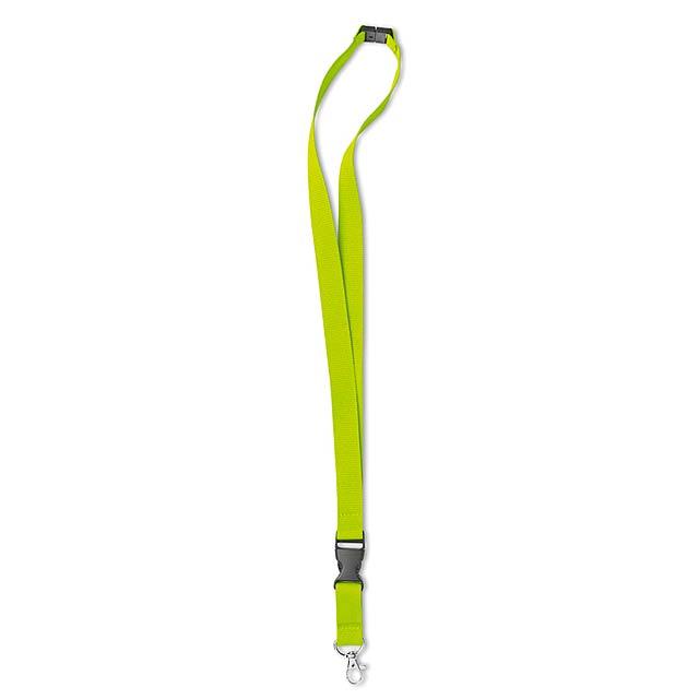 Šňůrka na krk s kovovým hákem  - citrónová - limetková