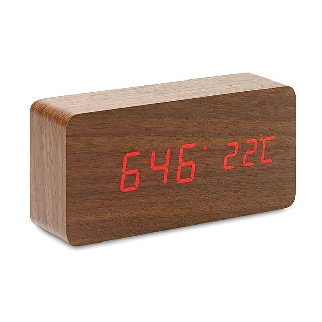 LED hodiny z MDF - BUENOS AIRES - drevo