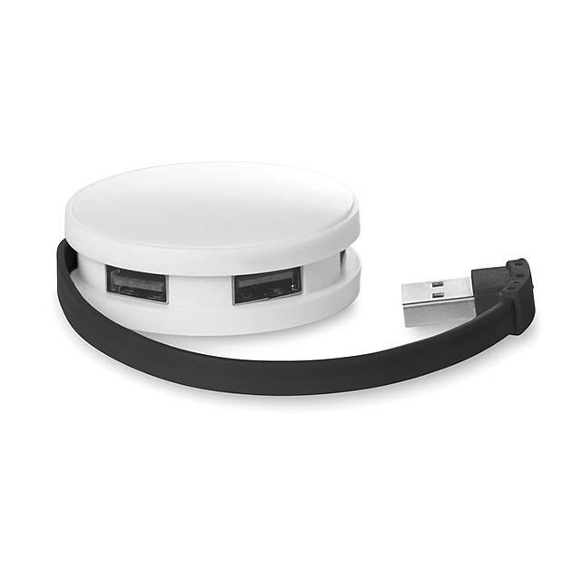 4 portový USB hub - ROUNDHUB - černá