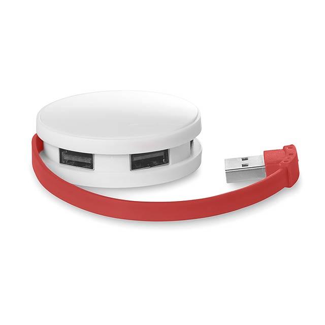 4 portový USB hub - ROUNDHUB - červená