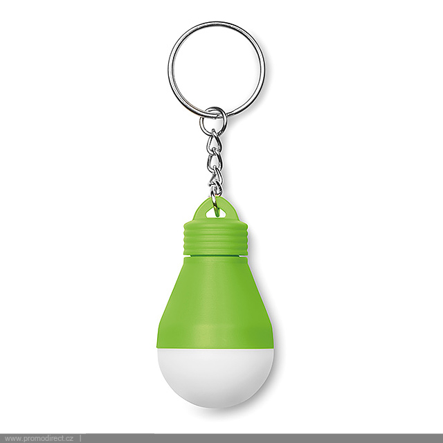 Light bulb key ring  - lime