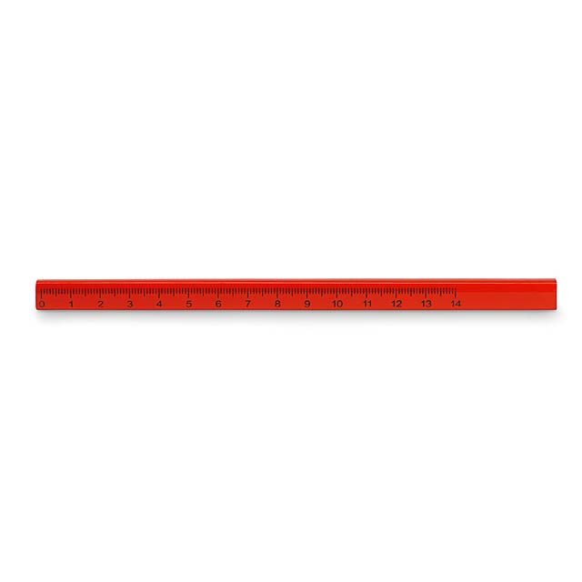 Carpenters pencil with ruler  - red