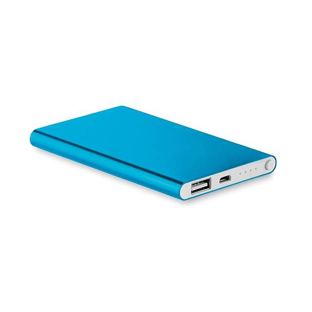 Hliníková PowerBank 4000 Mah - POWERFLAT - modrá