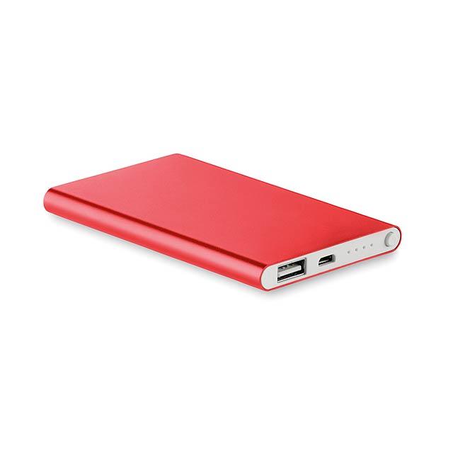 Hliníková PowerBank 4000 Mah - POWERFLAT - červená