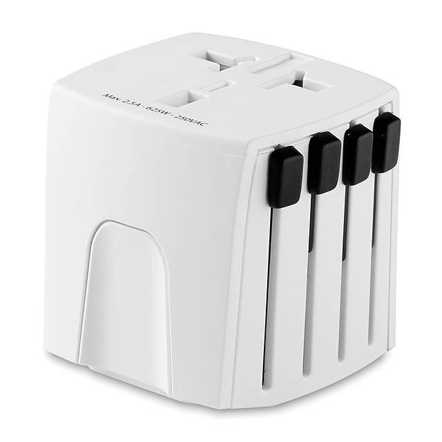 Univerzální cestovní adaptér  - bílá