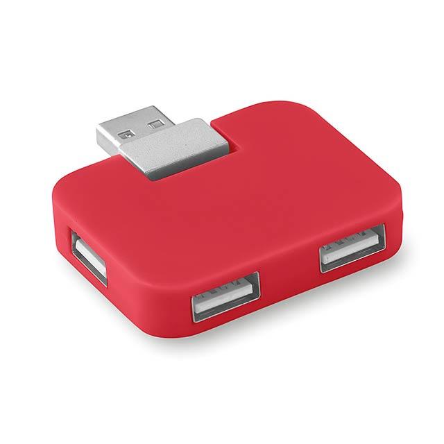 Čtyřportový USB hub- SQUARE - červená