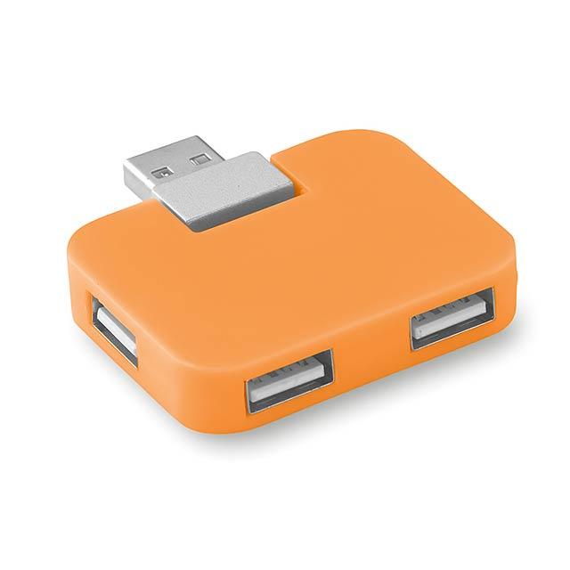Čtyřportový USB hub- SQUARE - oranžová