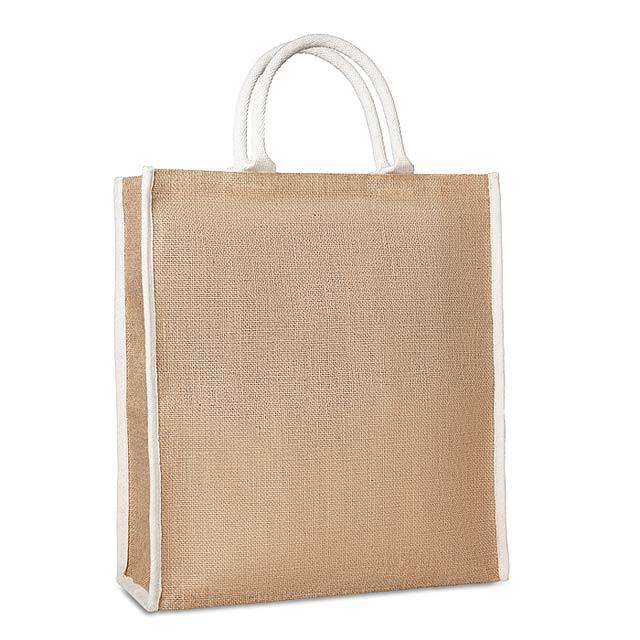 Nákupní taška z juty a bavlny - LADRA - béžová