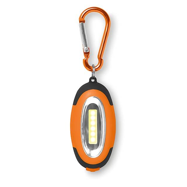 Malá COB svítilna s karabinou - COBIE - oranžová