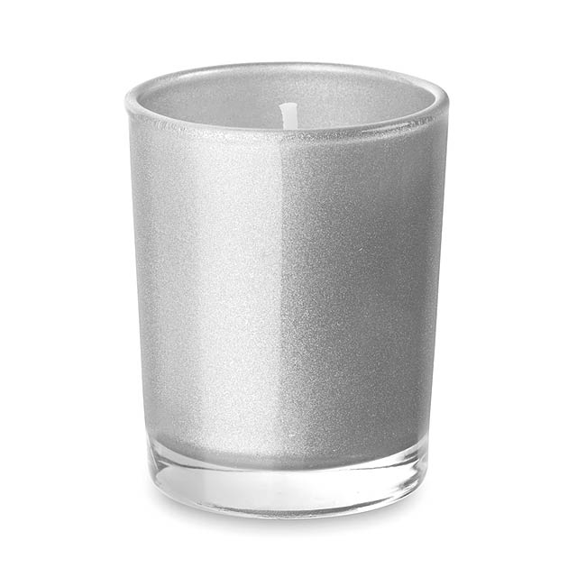 Malá svíčka ve skleničce - SELIGHT - stříbrná mat