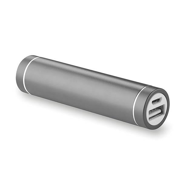 Power banka ve tvaru cylindru - POWEROVALE - titanová