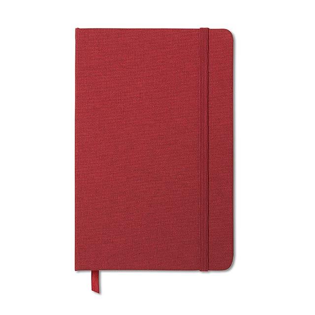 Zápisník, látková obálka - FABRIC NOTE - červená