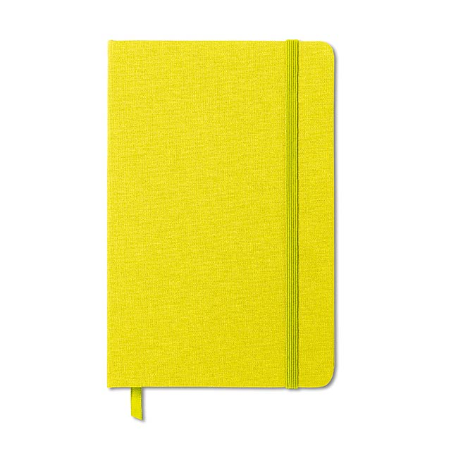 Zápisník, látková obálka - FABRIC NOTE - citrónová - limetková