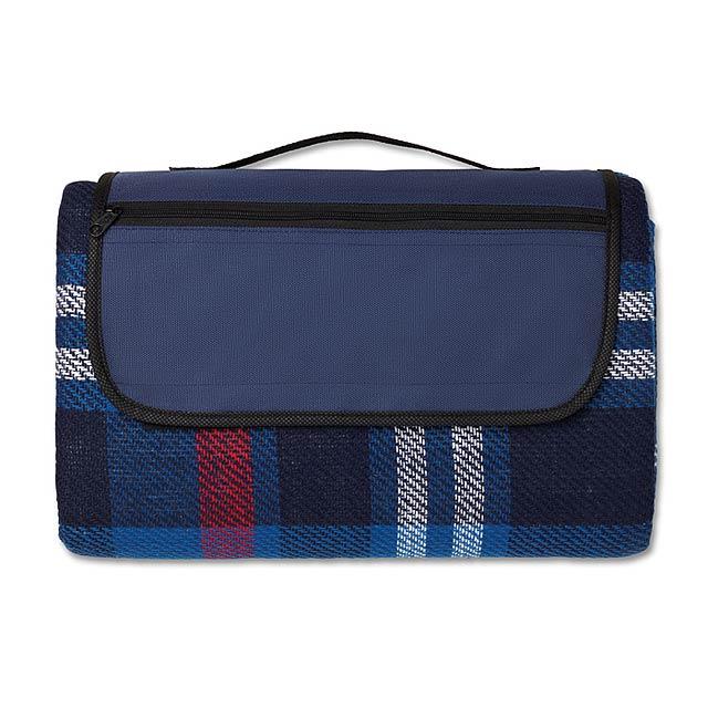 Skládací akrylová pikniková deka se zadní stranou pokrytou EPE plastem. - modrá - foto