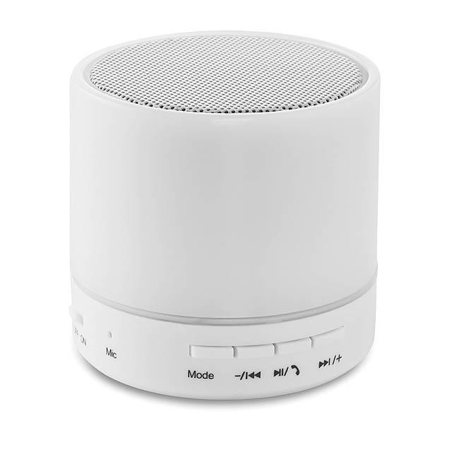 Bluetooth LED reproduktor - ROUND WHITE - bílá