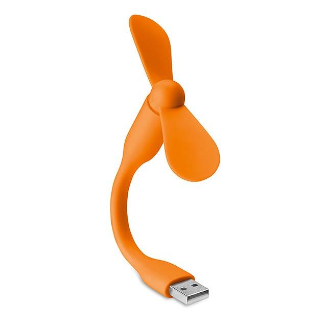 Přenosný ventilátor USB- TATSUMAKI - oranžová